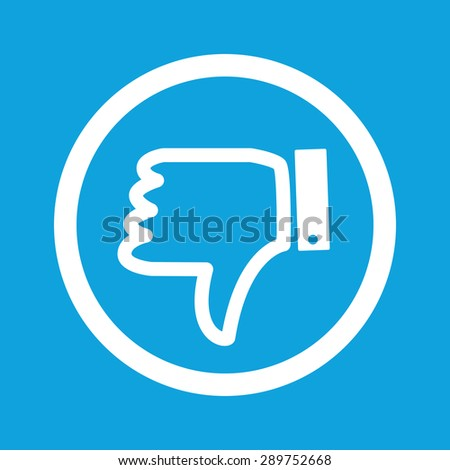 Image of dislike symbol in circle, isolated on blue - stock vector