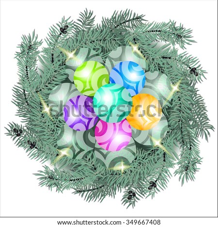 image of fir branches and Christmas balls