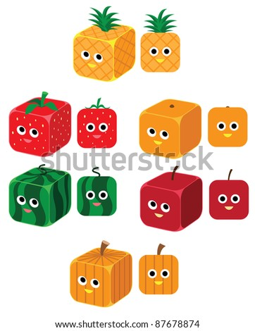 Image of fruits in a rounded cube shape. See my portfolio for other cute fruit image - stock vector