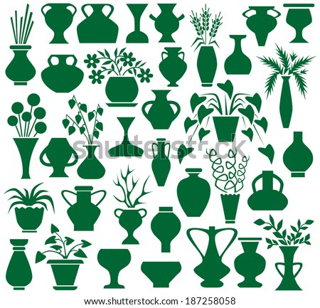 Image of green icons vases and flowers on a white background. - stock vector