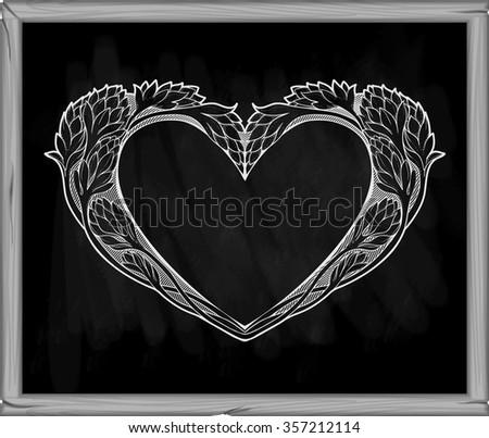 image of heart in art nouveau style on a blackboard - stock vector