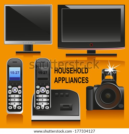 Image of home appliances in detail: TV, camera, phone, computer. I should clarify- that this is not the current model of technology and new reworked