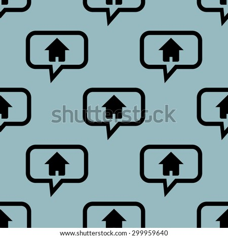 Image of house in chat bubble, repeated on pale blue background - stock vector
