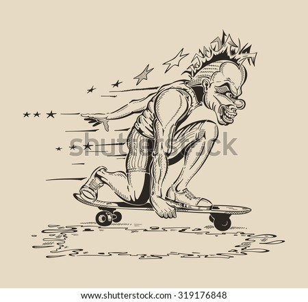Image of Man in mask of clown to perform tricks on a skateboard. Vector design. - stock vector