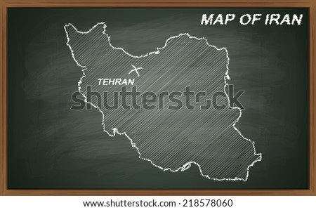 image of map of Iran. Transparency used.