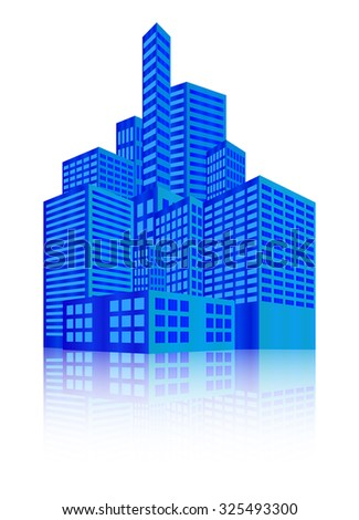 Image of modern building, Urban cityscape, City Lights, metropolis. Vector illustration isolated on white background.