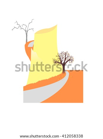Image of nature with the road leading round rock - stock vector