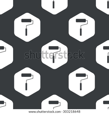 Image of paint roller in hexagon, repeated on black - stock vector