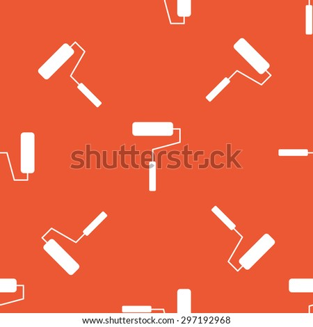 Image of paint roller, repeated on orange background - stock vector