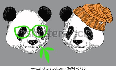 Image of panda in knitted hats and panda in glasses with bamboo leaves. Cute attractive face bear