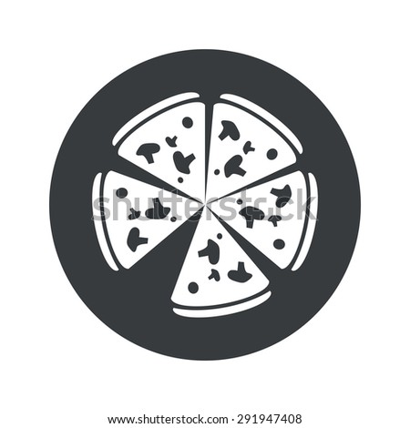 Image of pizza in black circle, isolated on white