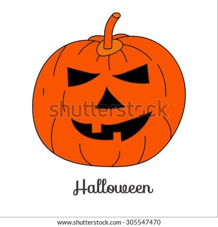 Image of pumpkins, jack-o'-lantern, Jack, halloween, orange pumpkin on a white background - stock vector