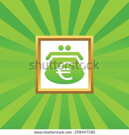 Image of purse with euro symbol in golden frame, on green abstract background - stock vector