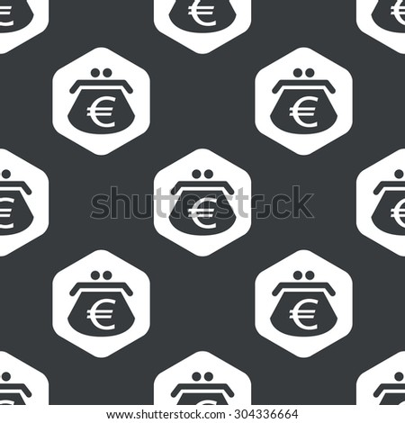 Image of purse with euro symbol in hexagon, repeated on black - stock vector