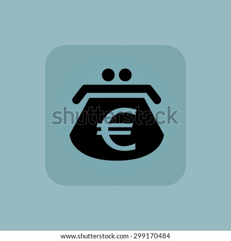 Image of purse with euro symbol in square, on pale blue background - stock vector