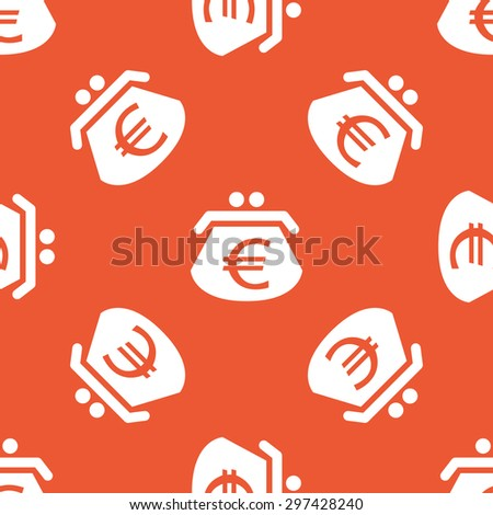 Image of purse with euro symbol, repeated on orange background - stock vector