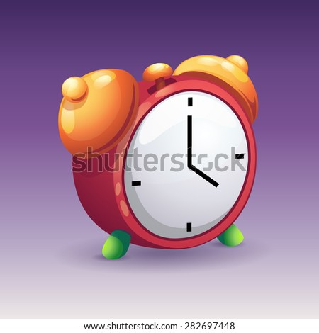 Image of red alarm clock with bells - stock vector