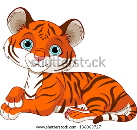 Image of resting little tiger cub