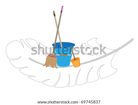 Image of the company carrying out cleaning - stock vector