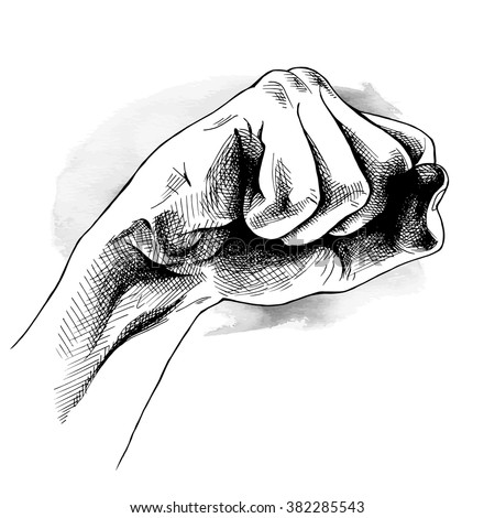 Image of the hand clenched his fist. Vector illustration.