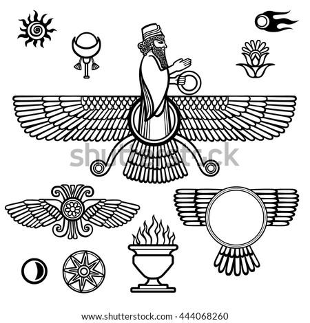Image Prophet Farvahar Set Esoteric Symbols Stock Vector 444068260