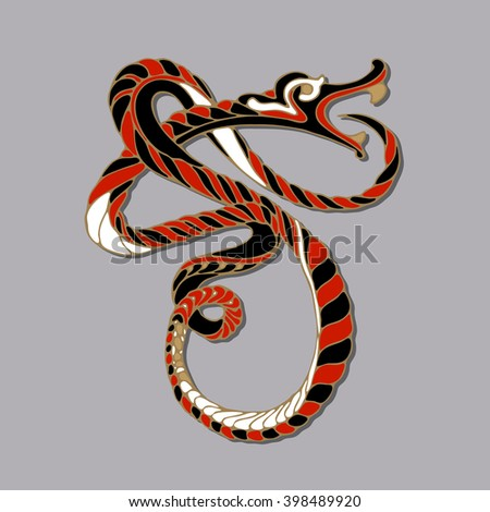 Image of twisted snake with open mouth. Decorative element for design isolated on the grey background. Abstract decorative pattern. Hand drawn art. Design element for tattoo, prints, logo. Vector