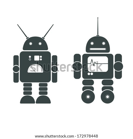 Image of two funny robots - stock vector