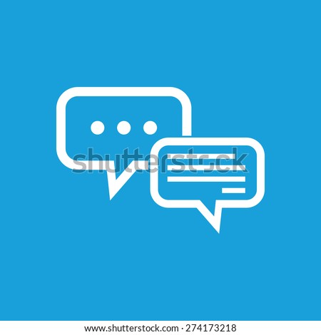 Image of two message clouds on blue background. One cloud shows process of typing - stock vector