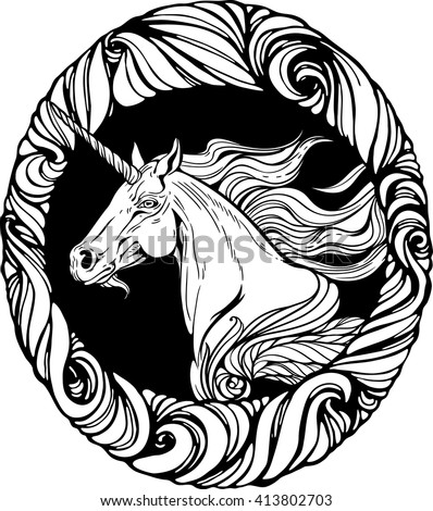 Image of unicorn's head in floral style frame.
