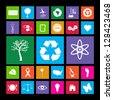 Image of various colorful metro eco icons isolated on a black background. - stock vector