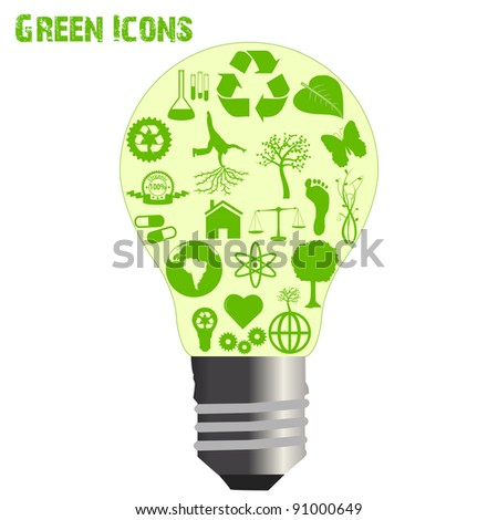 Image of various eco-friendly icons inside of a light bulb isolated on a white background.