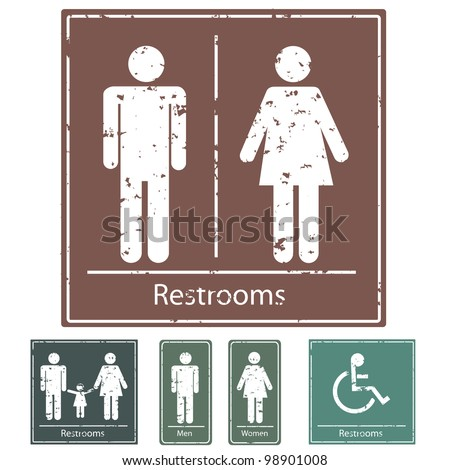 Image of various grunge rest room signs isolated on a white background. - stock vector