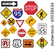 Image of various road and highway signs on a white background. - stock photo