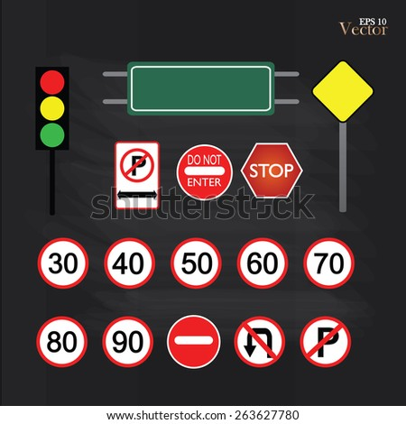 Image of various road signs isolated on chalkboard.road sign vector