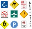 Image of various signs on a white background. - stock photo