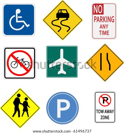 Image of various signs on a white background. - stock vector