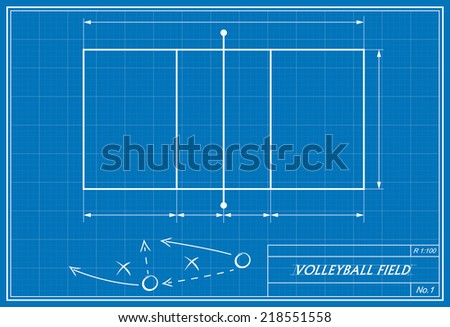 image of volleyball on blueprint. transparency used.