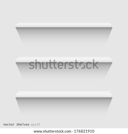 Image of white floating shelves against a wall. - stock vector