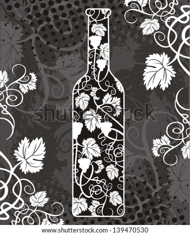 Image of Wine bottle with grapevine - stock vector