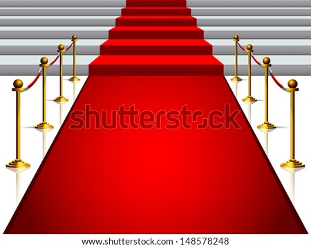 Image on the staircase with red carpet - stock vector
