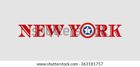 Image relative to USA travel. New York city name with flag colors styled letter O