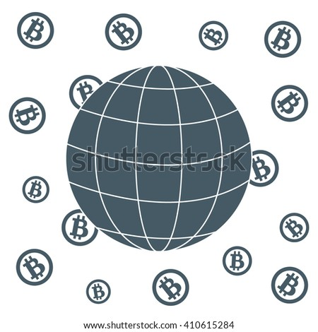 Image showing the possibility of using bitcoin as a means of payment in the world: bitcoins and globe on white background - stock vector