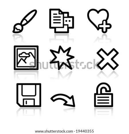 Image viewer black contour web icons V2 set 2 - stock vector