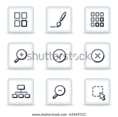 Image viewer icons, white square glossy buttons - stock vector