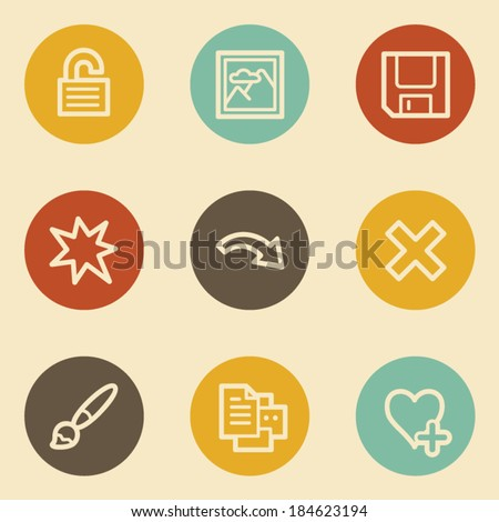 Image viewer web icon set 2, retro circle buttons - stock vector