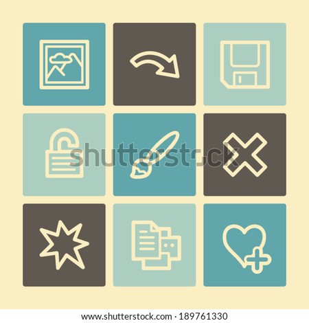 Image viewer web icons, buttons set - stock vector
