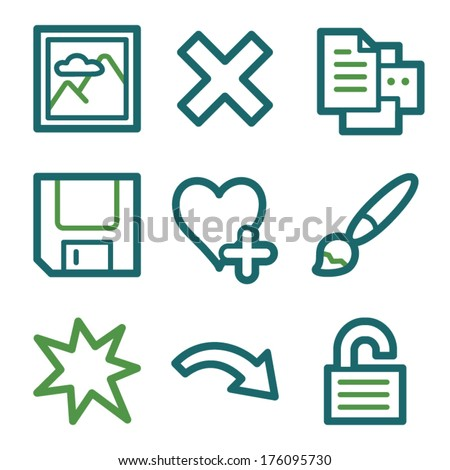 Image viewer web icons, green line set - stock vector