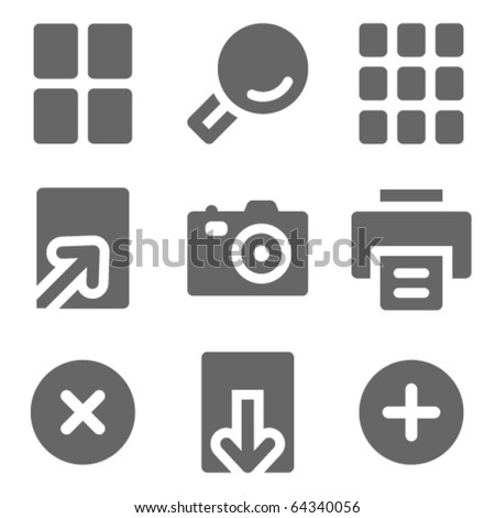 Image viewer web icons, grey solid series - stock vector