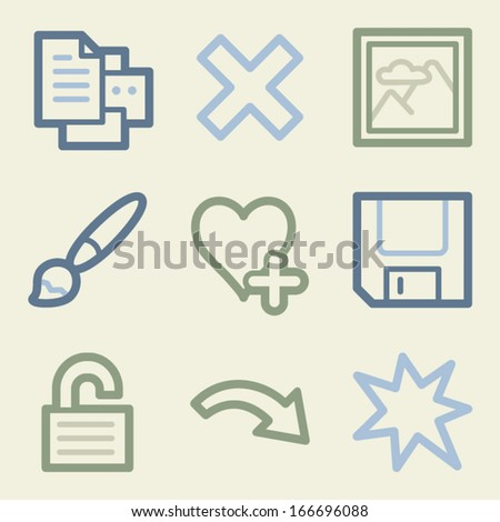 Image viewer web icons, money color set - stock vector