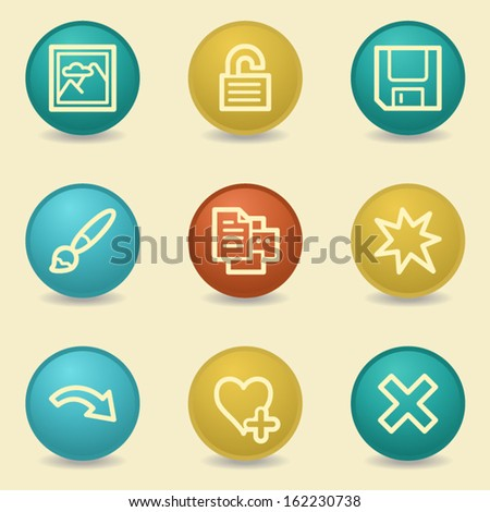 Image viewer web icons, retro buttons - stock vector